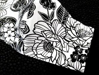 夏ver. オリジナル立体マスク モノトーン花柄 2サイズ(大人M・L)の画像