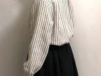 stand color blouse/washed stripe linenの画像