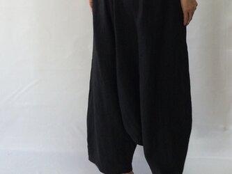 sarouel-pants/black linenの画像