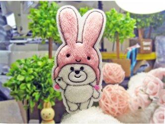 ★ピンクのうさぎの帽子を被ったくまさん★もこもこ大ワッペン★桃白全身17-1枚の画像