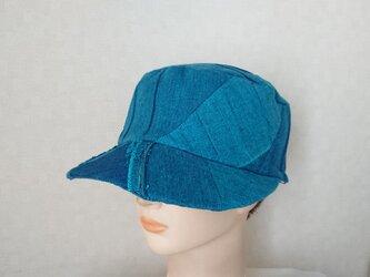魅せる帽子☆ピンタックが素敵♪ターコイズブルーのキャスケットの画像