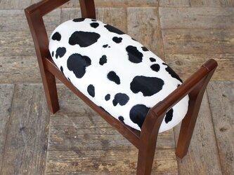 玄関スツール W-arm 収納付 (ブラウン × Cow)の画像