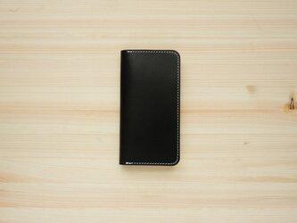 牛革 iPhoneSE2 カバー  ヌメ革  レザーケース  手帳型  ブラックカラーの画像