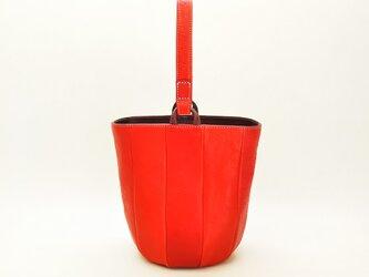 小さめの丸底レザーバッグ(赤) 6色から選んで作れますの画像