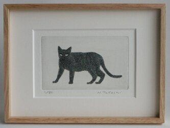 黒い猫・2020/ 銅版画 (額あり)の画像