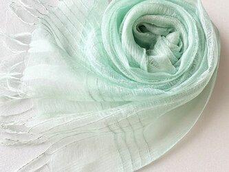 模様織*青磁色*シルクオーガンジーストールの画像
