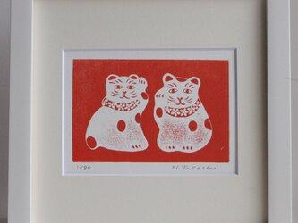 左右の招き猫/ 銅版画 (額あり)の画像