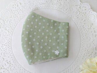 送料無料【受注制作】水玉模様のグリーンコットンリネンの立体マスクLサイズ☆サイズ変更可の画像