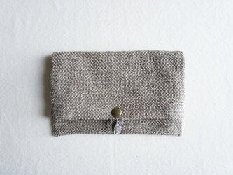 【受注制作】裂き織りのフリーポーチ A5 モカベージュの画像