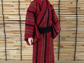 「縞柄の浴衣…赤銅」28cmドール浴衣の画像