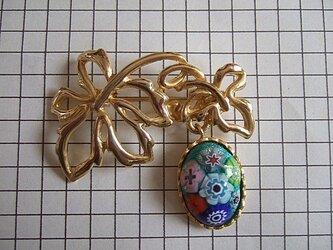 銀七宝 ブローチ ミルフィオリ 楕円 金色クロム金具の画像