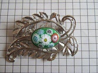銀七宝 ブローチ ミルフィオリ 楕円 銀色クロム金具の画像