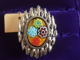 銀七宝 指輪 楕円 ミルフィオリ クロム金具  の画像