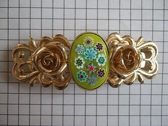 銀七宝 バレッタ 髪留め ミルフィオリ 金色クロム金具  の画像