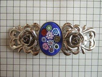 銀七宝 バレッタ 髪留め ミルフィオリ クロム金具の画像
