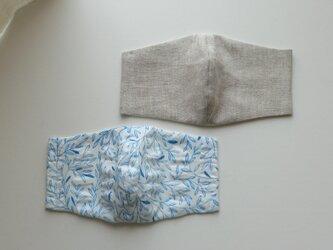 【お得な2枚セット】夏素材 涼しくさらさら 薄地リップル生地+リネン100%(ブルーリーフ・オートミール)の画像