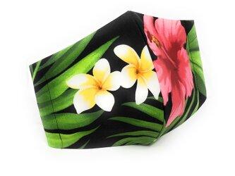 ハワイアン ファブリック ファッション・3Dマスク(扇型) ハイビスカス柄 ブラック Lサイズの画像