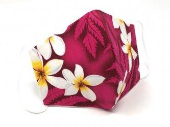 ハワイアン ファブリック ファッション・3Dマスク(扇型) プリメリア ピンク Lサイズ パターン2の画像