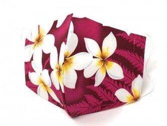 ハワイアン ファブリック ファッション・3Dマスク(扇型) プリメリア ピンク Mサイズ パターン2の画像