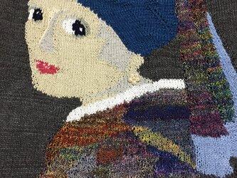 手編み コットンベストの画像