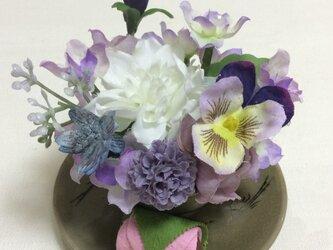 仏花  真珠の涙   福  (甘味のお供えが取り替えられるミニサイズ)  (造花、仏花、お供え、お盆、お彼岸)の画像