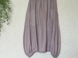 リネン100%バルーンスカート グレイッシュピンクの画像