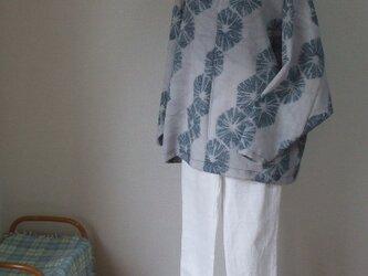モスリンアンティーク男物長襦袢からTシャツ風ブラウス 毛の画像
