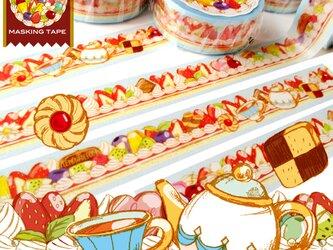 ず~っとケーキ柄お茶会マスキングテープの画像
