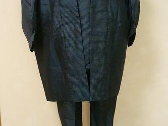 薄物大島(男物での)作務衣、3点セットの画像