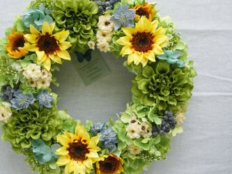 Sunflower Wreath 32cm(造花)の画像