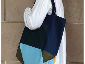 コンパクトおかいのもかばんBig 紺カラーブロック 受注製作の画像