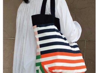 コンパクト おかいのもかばん 裏表色が違う からふるボーダー 紺受注製作の画像