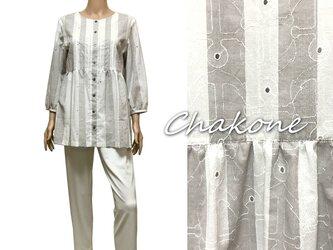 【ブラウス】ゆったりチュニック・ブラウスシャツ(七分袖/ML) ストライプ柄(イカリ刺繍模様)の画像