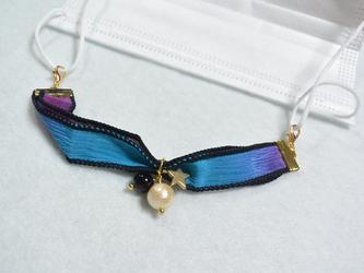 【送料無料】シルクリボンのマスクフック(ブルー&パープル)の画像