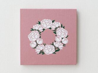 芍薬リースのファブリックパネル M-808◆ピンク/白-緑の画像