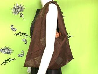 着物で作った『ちょっとそこまでbag』 こげ茶の画像