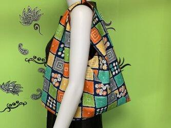 着物で作った『ちょっとそこまでbag』 カラフルの画像