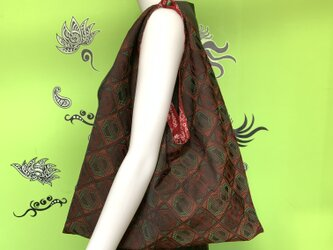 着物で作った『ちょっとそこまでbag』 エンジの画像