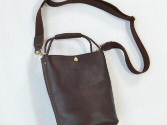 [受注生産] 編み紐ハンドルのバケツ型2Way ショルダーバッグ Dark Brownの画像
