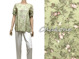 【ブラウス】ゆったりブラウスシャツ(半袖/ML) コットン YUWA 花柄(ライトグリーン)の画像