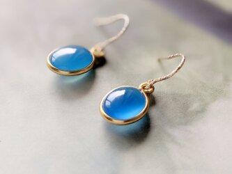限定数のみ14kgf blue agate * siciliana cobalt * ブルーアゲートピアスorイヤリングの画像