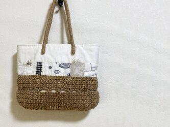 ミナペルホネン生地のパッチーク+麻編みかばんの画像