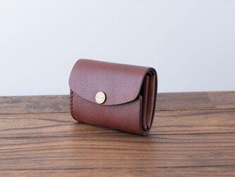 イタリア製牛革の三つ折りピッコロ財布 / ダークブラウン※受注製作の画像