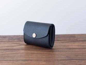 イタリア製牛革の三つ折りピッコロ財布 / ブラック※受注製作の画像