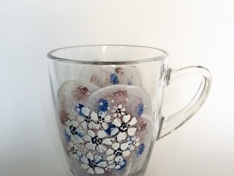 ホットもOK!刺繍のように~お花を・渋いピンクとブルーの画像