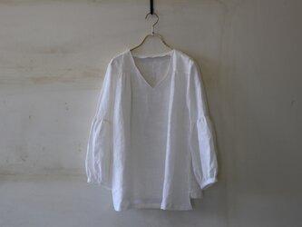 【今夏に!】ギャザー袖チュニック french linen100% whitelinen 【受注生産】の画像