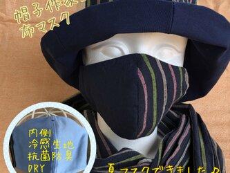 夏!遠州綿紬の布マスク とめこん×花野の画像