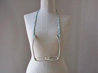 ミルキーカラー天然石のネックレス&グラスコードの画像