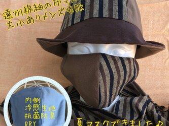 夏!遠州綿紬の布マスク うつぶし×木立の画像