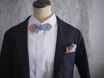手織り カジュアルチーフ・蝶ネクタイセットの画像